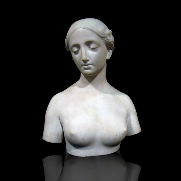 Hiram Powers (1805 – 1873), Classical Female Marble Bust, Marble Sculpture, Marble Bust