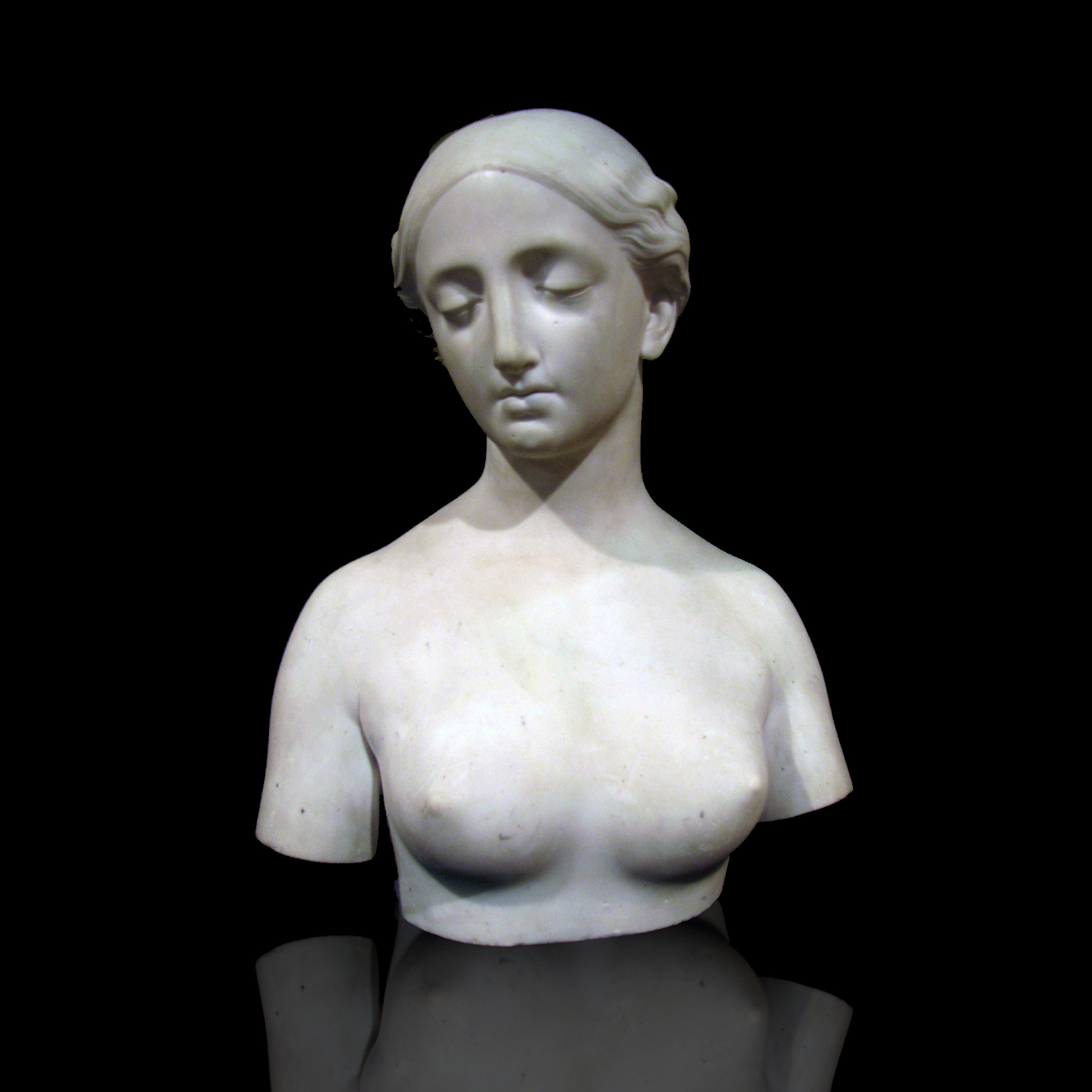 Hiram Powers (1805 – 1873)  attributed Classical Female Marble Bust circa 1850