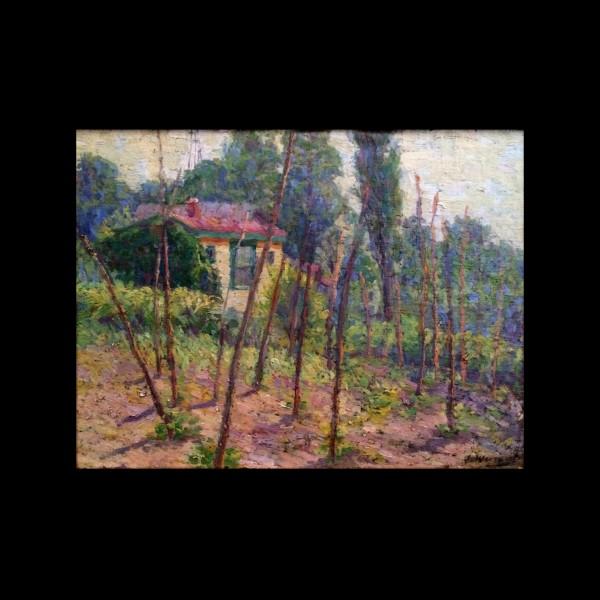 Edward Oswald Wingert (1864 – 1934) Oil Painting Orchard Farmhouse