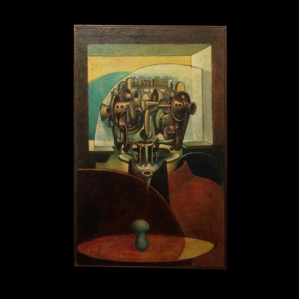 George Dergalis (1928 - ) Oil Painting Machine Man 1956