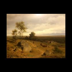 Eduard Peithner Von Lichtenfels [1837-1913] Austrian artist : Landscape with a farm, ca.1860.