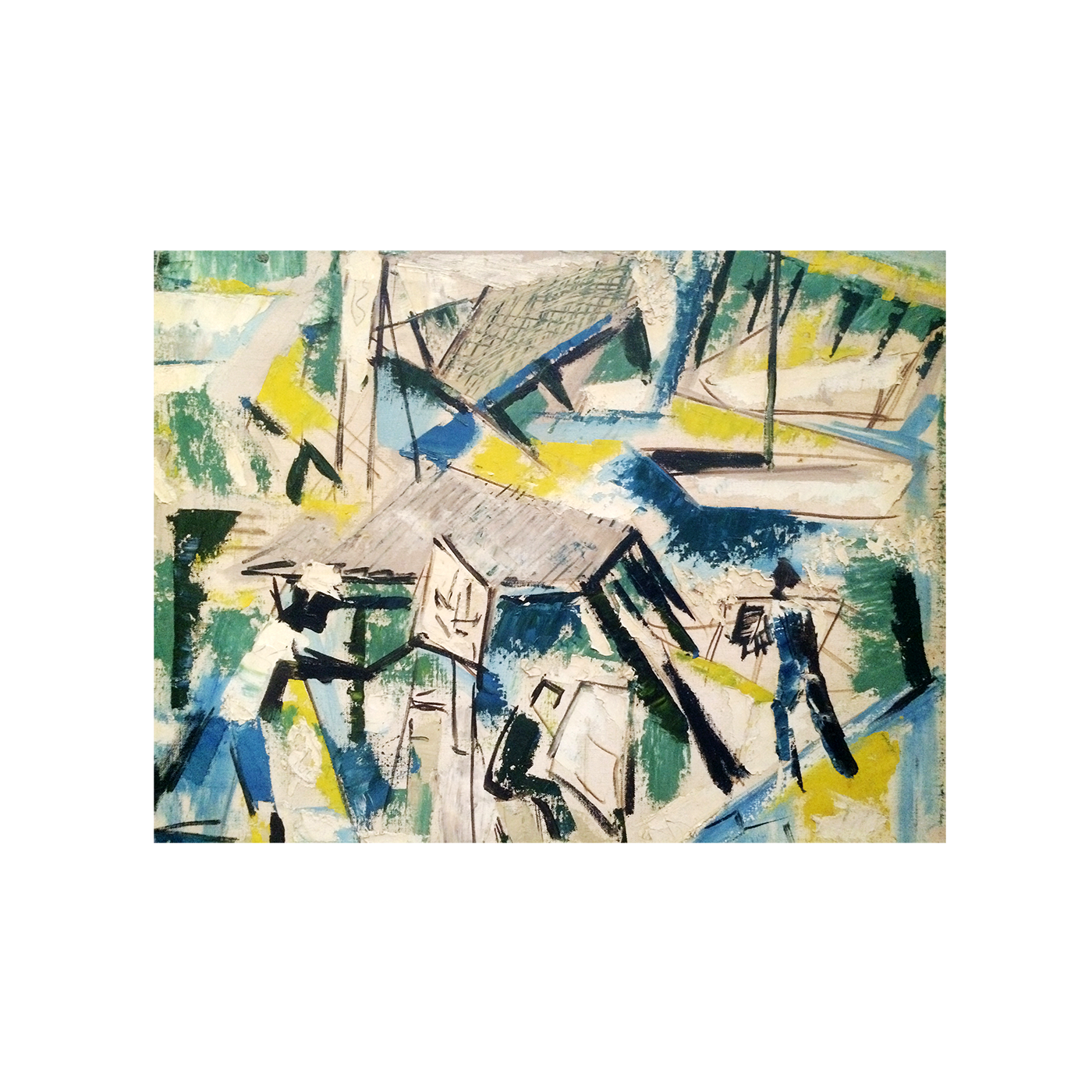 American Modernist Abstract Painting Quot Men At The Dock