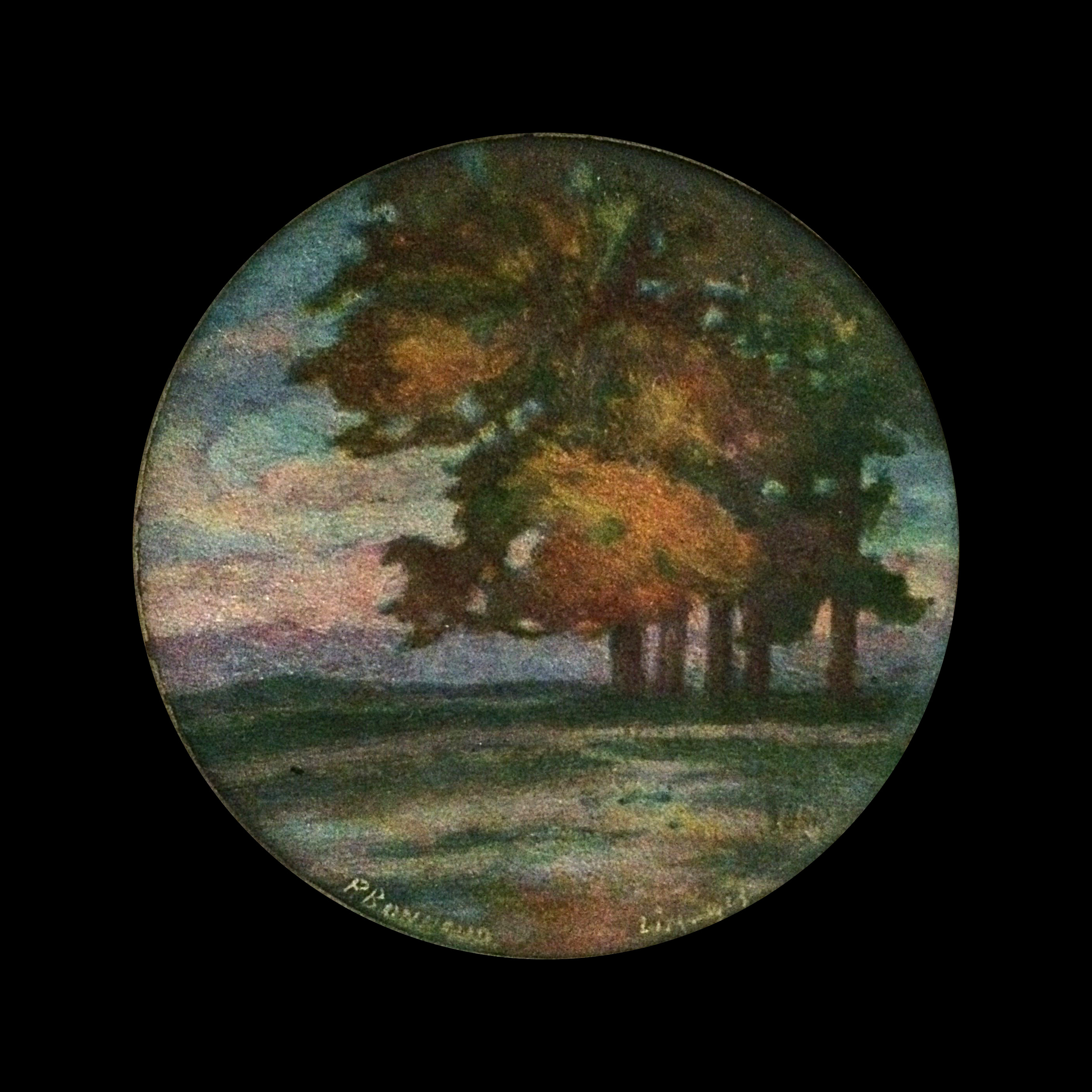 Pierre Bonnaud (1865-1930) French Enamel on copper impressionist Landscape c.1890