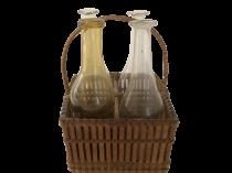 Miniature Basket Folkart with Bottles