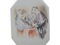 Scholar Talking with Cat watercolor c.1870