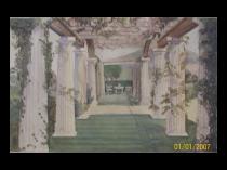 American school watercolor with Classical Garden View c.1870