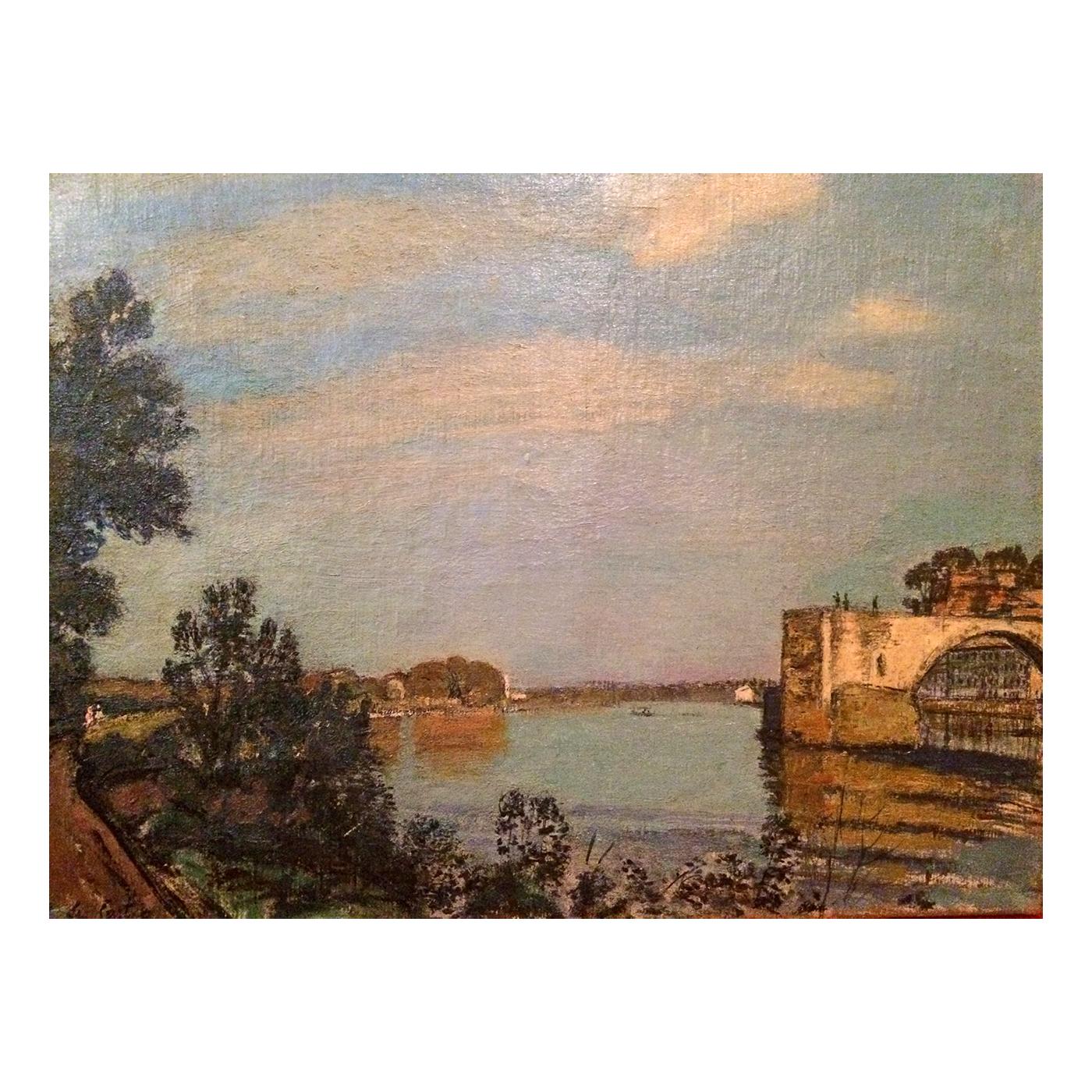 Paul de Castro (1882-1939) British/Italian artist impressionist painting Ruins along the River c.1900