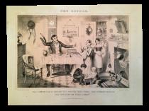 Temperance movement satirically characterizing alcoholism prints The Bottle c.1850