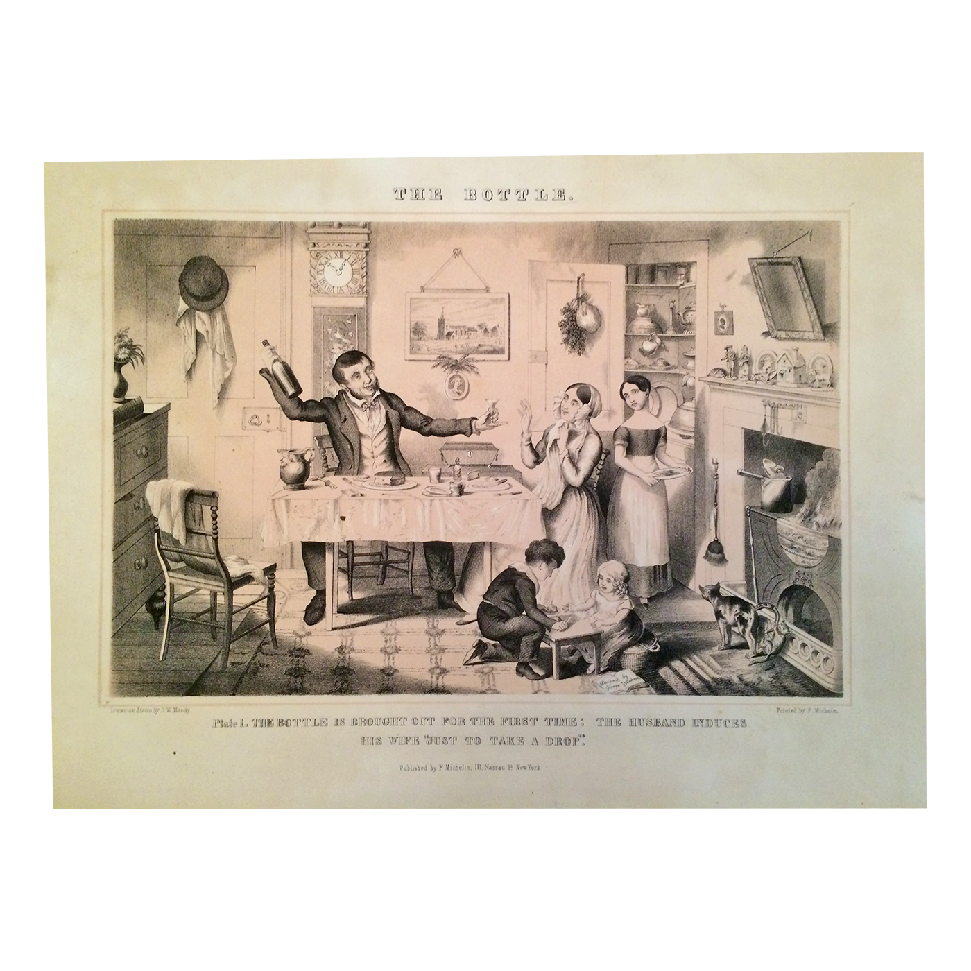 Temperance movement satirically characterizing alcoholism prints The Bottle c.1850