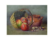 American school watercolor Apples and Nuts c.1880
