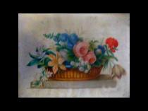 American School Folk Art watercolor still life flowers in a basket c.1850