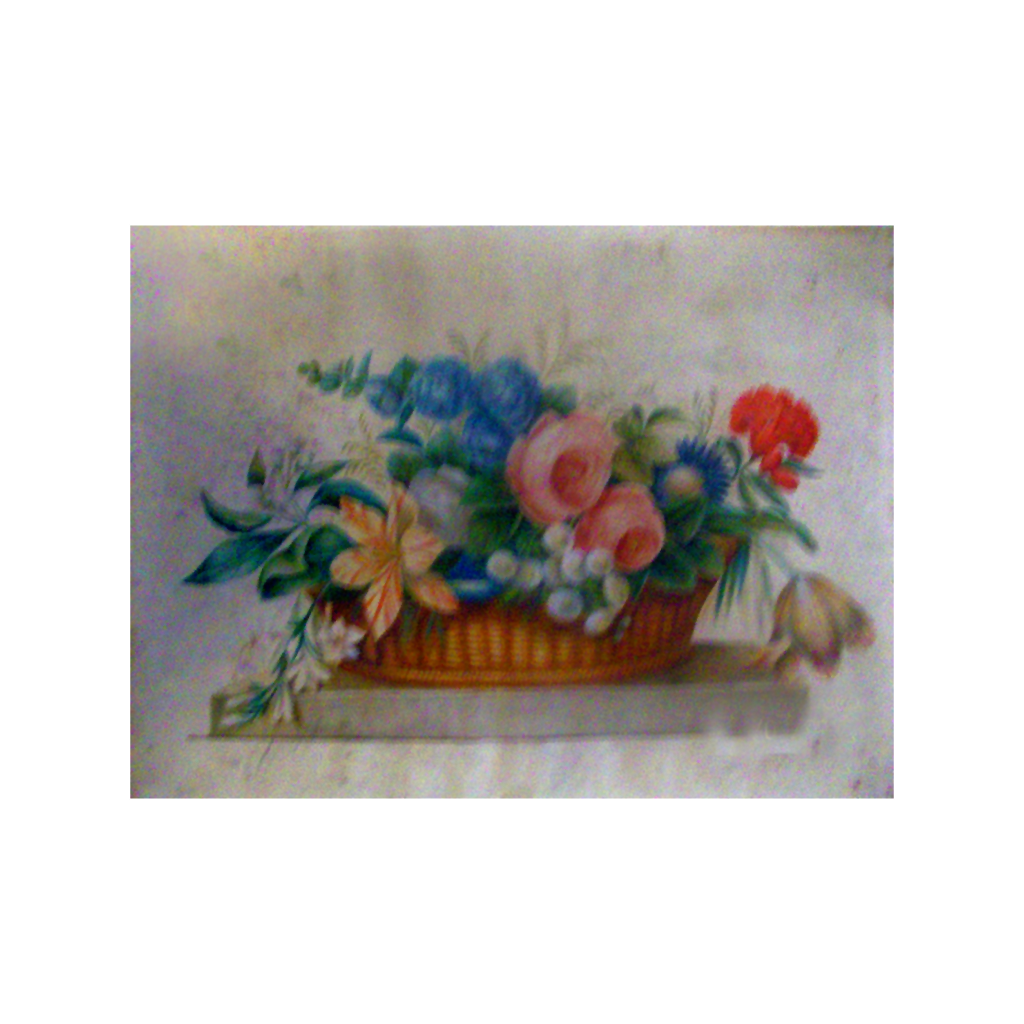 American School Folk Art watercolor still life flowers in a basket c.1850