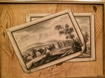 L.Crumpipen Trompe L'oeil watercolor of drawings on a wall c.1795