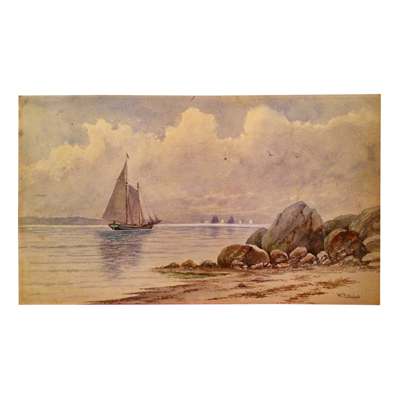 W.C. Puddefoot American artist watercolor of Harbor in New Haven CT c.1900