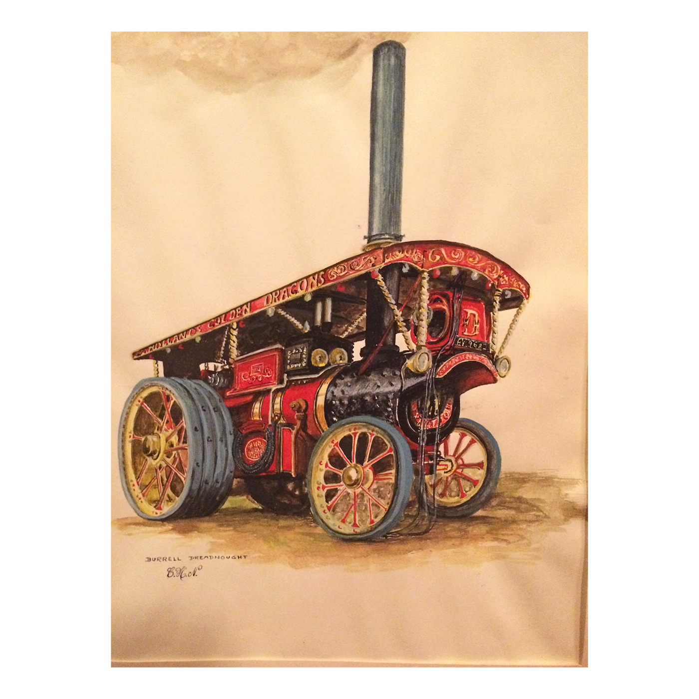 Burrell General Purpose Engine 4053 watercolor of the Dreadnought c.1926
