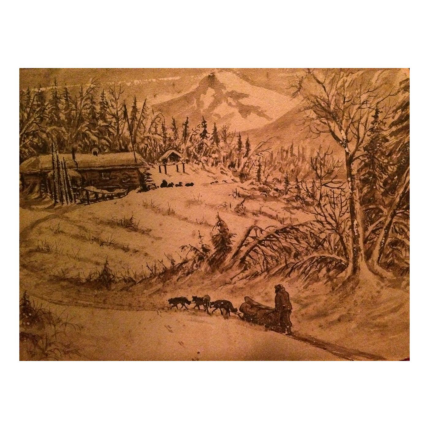 Alaskan folk art drawings titled Yukon Territory c.1880