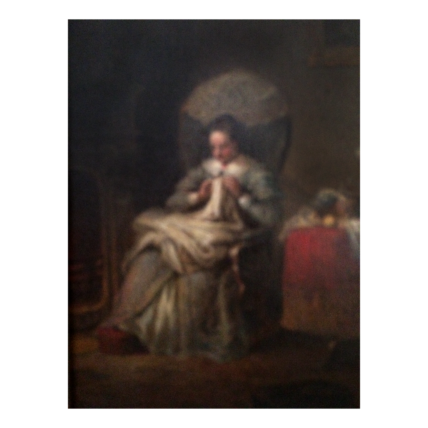 Frederick A Chapman (1818-1891)  Connecticut /New York Painting of Young Woman Knitting by the Fireplace circa 1860
