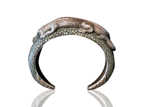 Lou Guerin Silver and shark skin Alligator Bracelet circa 1970s