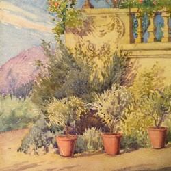 John Ireland Howe Downes (1861-1933) Connecticut impressionist artist Garden Landscape circa 1900