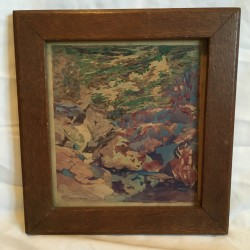 Will G Rodeman (early 1900's) Detroit Artist, Arts and Crafts Forest Interior circa 1900