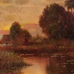 "Juan Gil Garcia (1879-1931) Spanish lived and painted in Cuba""CASA CERCA DE LA HABANA.""circa 1915"