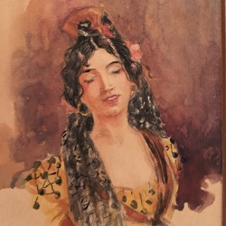 "Spanish School ""Portrait of Beautiful Woman"" circa 1880"