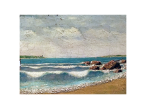 New Haven Connecticut harbor impressionist painting circa 1880