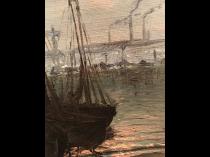 American School Impressionist Industrial Port Scene circa 1910