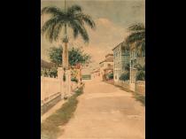 "Elmer J Read (1862- ) New York artist painted Nassau Bahamas ""Nassau street """