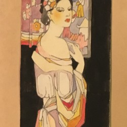 American School Deco Exotic Beauty signed and dated 1929