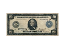 Large Size Boston $20 Federal Reserve Note Blue Seal and numbers 1914