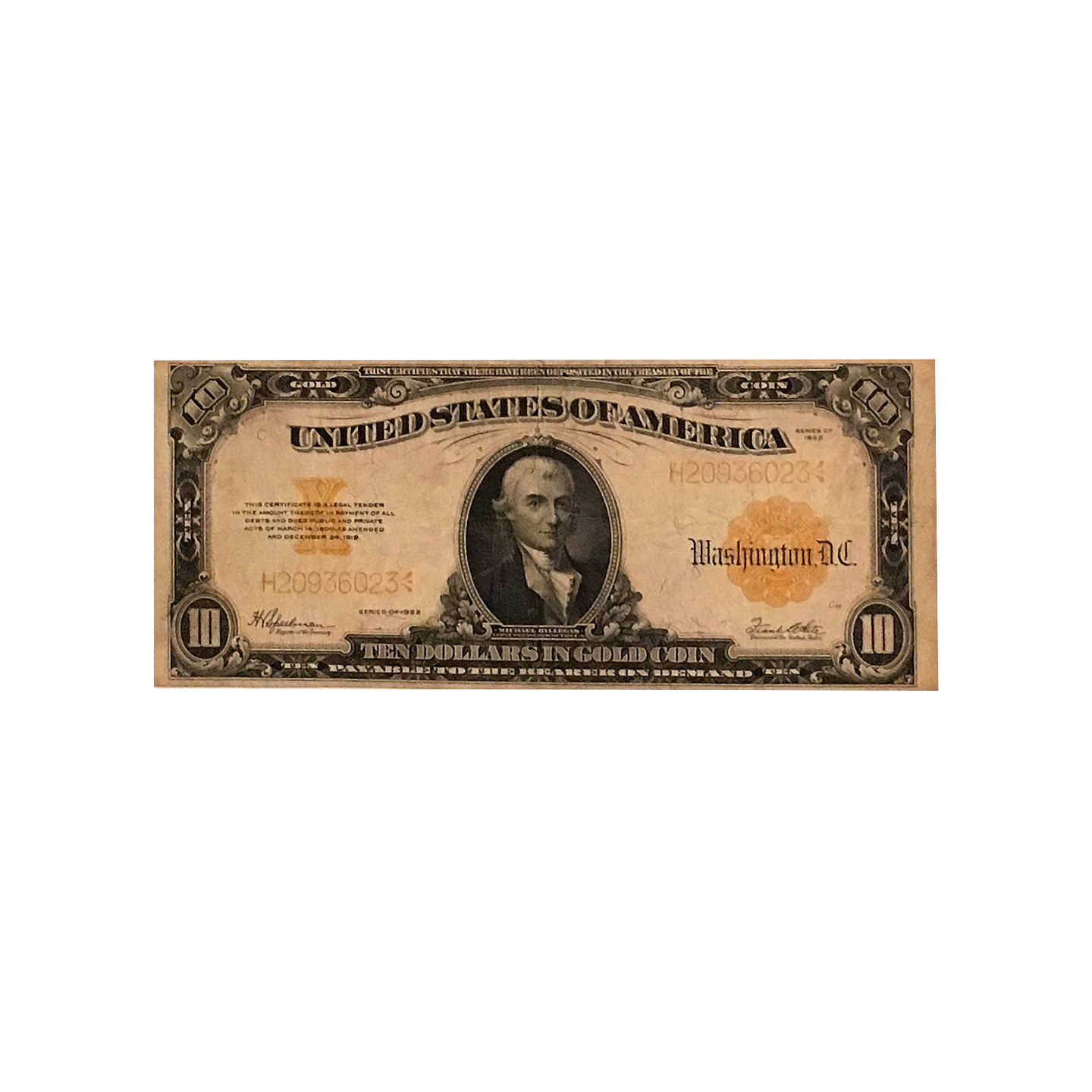 United states of america 10 gold certificate 1922 from here to united states of america 10 gold certificate 1922 1betcityfo Gallery