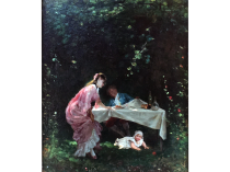 """Camillo Innocenti [1871-1961] Italian Impressionist Outdoor Genre Painting """"Playing with Child"""" Circa 1900"""