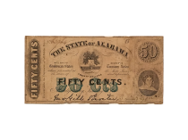 Confederate State of Alabama Fifty Cents Note Circa 1863