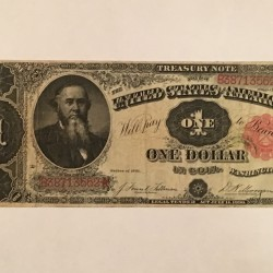 "1891 ""Stanton"" large One Dollar treasury coin note"