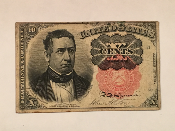 """1874 """"Meredith """"ten cents Fractional currency"""