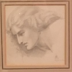 "Sir William Blake Richmond (1842-1921) Pre-Raphaelite drawing of "" Jane Morris "" circa 1862"