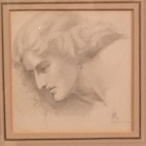 "Sir William Blake Richmond (1842-1921) Pre-Raphaelite drawing of "" Jane Morris "" circa 1862"