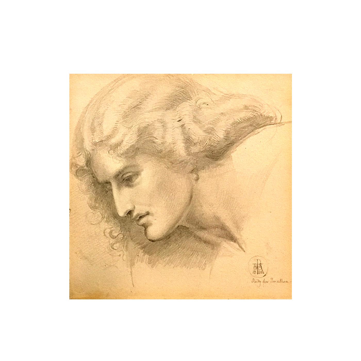 "Sir William Blake Richmond (1842-1921) Pre-Raphaelite drawing of "" Study of young Woman"" "" circa 1862"