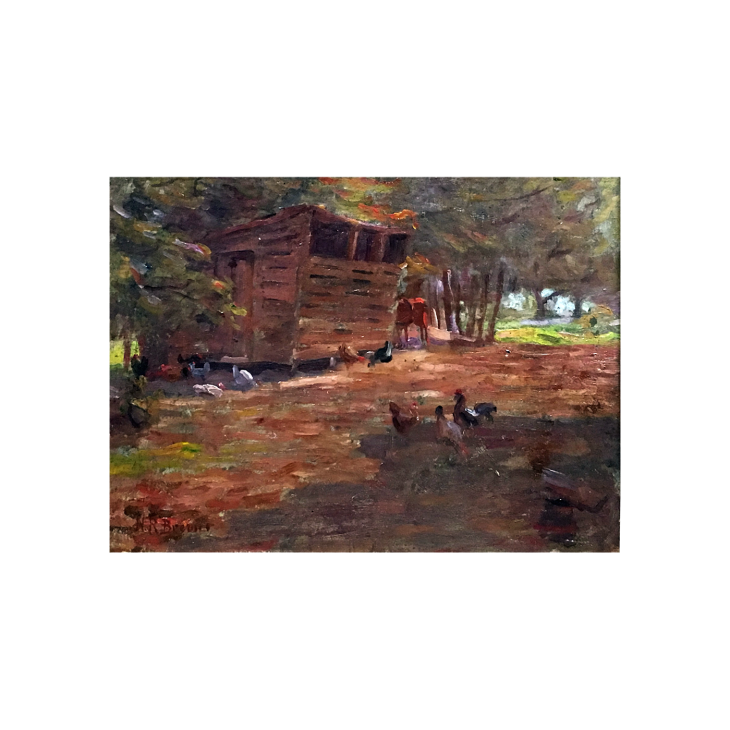 Nicholas Richard Brewer [1857-1949] Minnesota / Texas Impressionist Painter Landscape with Animals Feeding, c.1920 Oil on board 8 x 10 inches