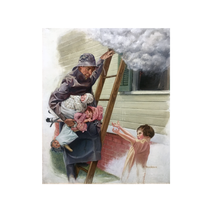 Russell Sambrook [1891-1956] New York Illustrator The Fireman and the Rescue, c.1920 Oil on canvas 24 x 20 inches