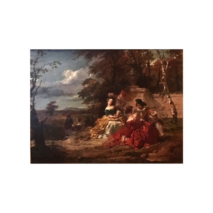 In the Manor of  Jean Antoine Watteau Figures in the Garden, circa 1700s Oil on board 10-1/2 x 13-1/2 inches