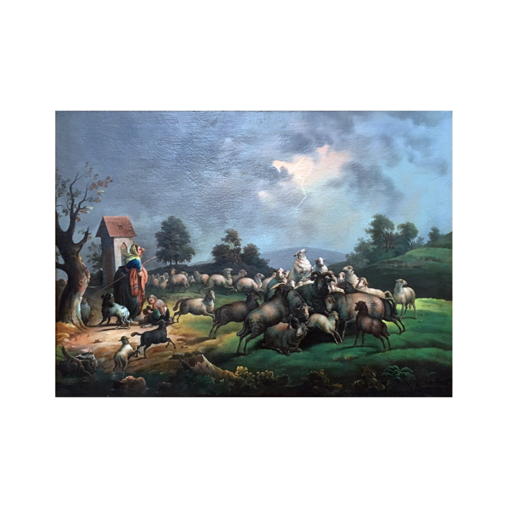 Germanic School Signed Illegibly. The Approaching Storm, c.1790-1810 Oil on canvas 38 x 29 inches