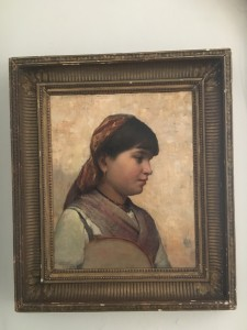 Percy Franklin Woodcock (1855-1936) American Impressionist Portrait of Young Girl,Paris 1887