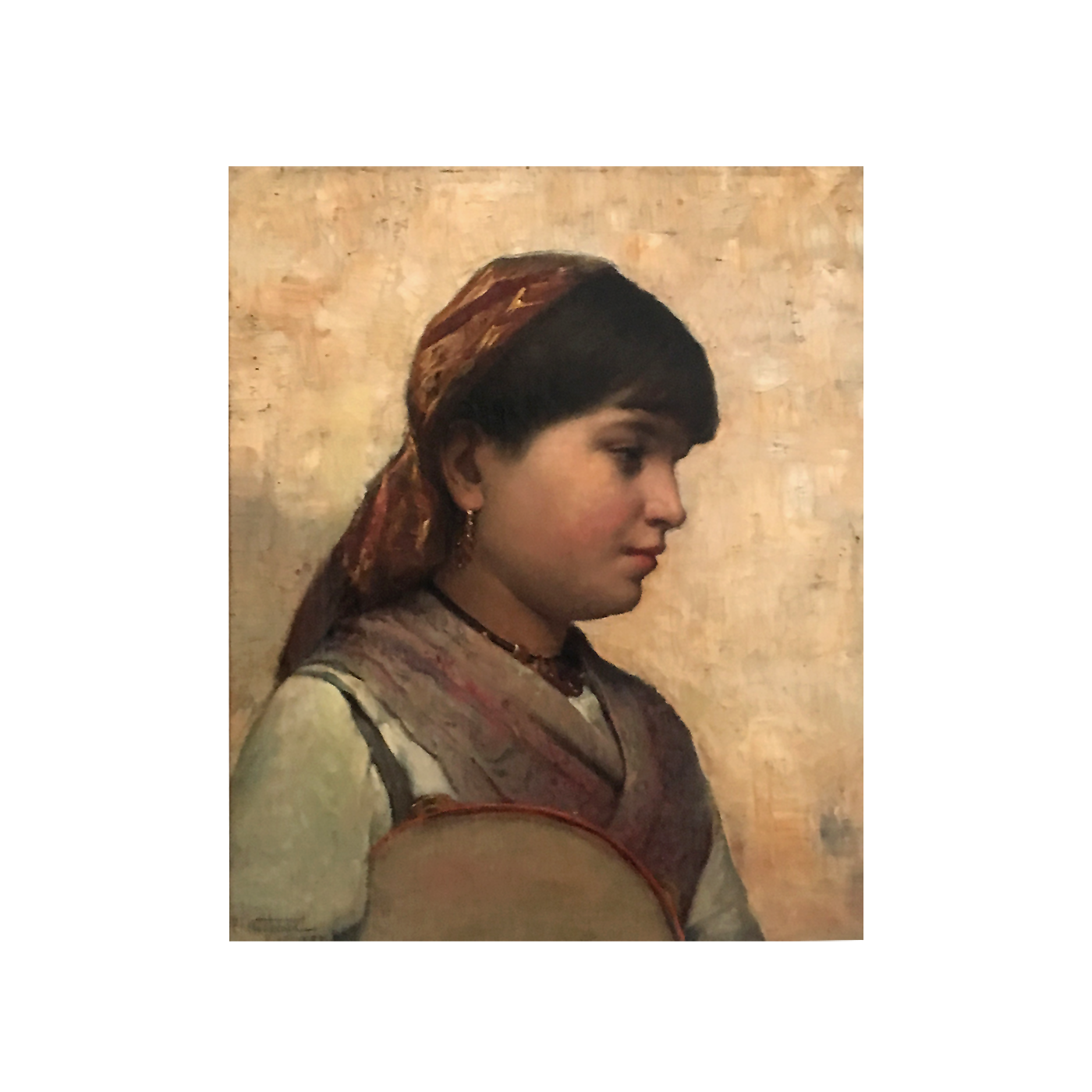 Percy Franklin Woodcock [1855-1936] American Impressionist Portrait of Young Girl, Paris 1887