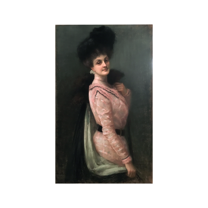 Clarisse Madelene Laurent [1857-1940] American Belle Epoque Portrait of an Elegant Woman, c.1900 Pastel on paper 49 x 29-1/2 inches