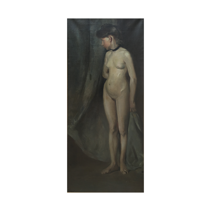 German/Austrian School Secessionist Painting of Nude Woman, c.1906 Oil on canvas 68 x 31 inches