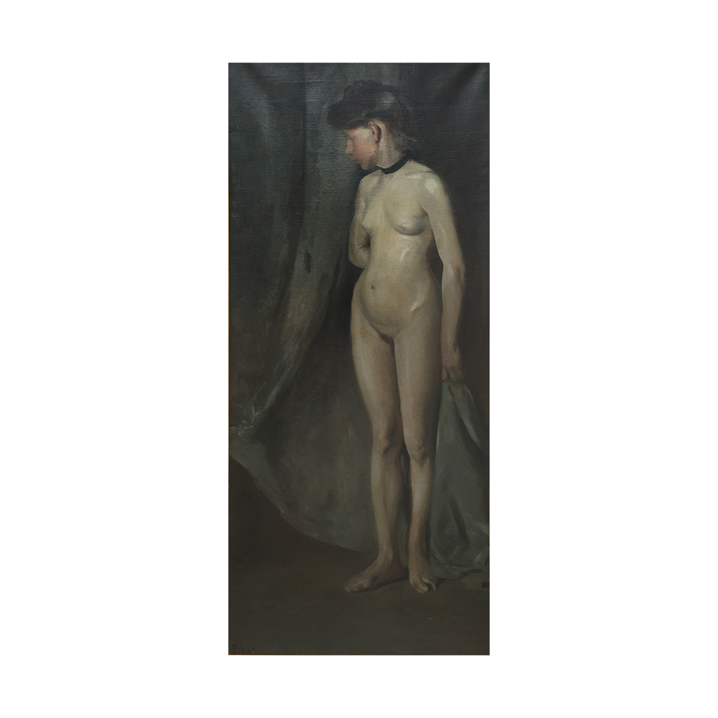 German/Austrian School Secessionist Painting of Nude Woman circa 1906
