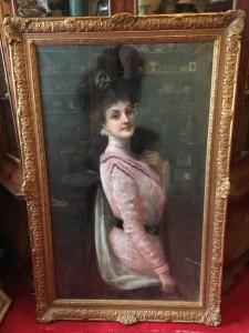 Clarisse Madelene Laurent (1857-1940) American Belle Epoque Portrait of an Elegant Woman circa 1900