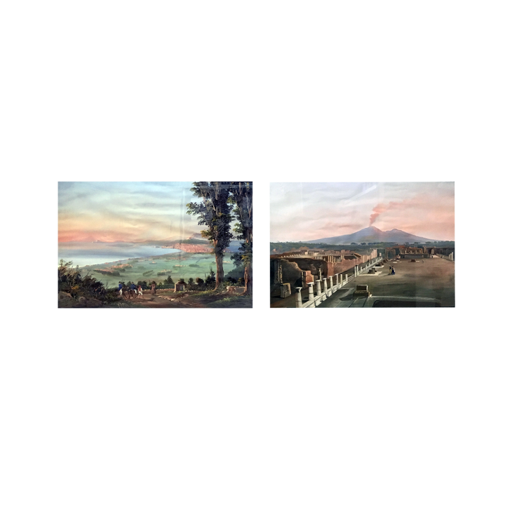 Italian School View of Pompeii and View Of Naples, circa 1880 Gouache on paper 17 x 24 inches